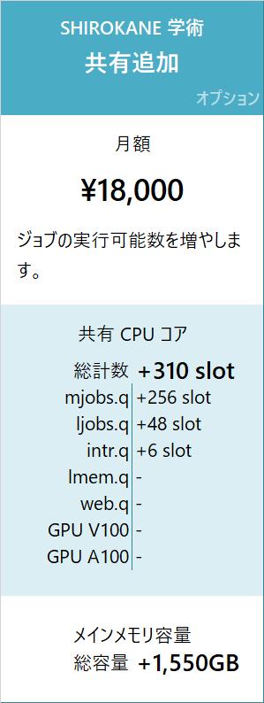 SHIROKANE 学術料金 共有追加 月額 18,000 円