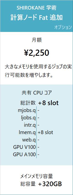 SHIROKANE 学術料金 計算ノード Fat 追加 月額 2,250 円